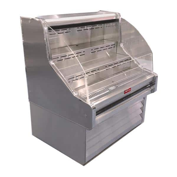 Howard-McCray R-OS35E-5C-S 63.00'' Stainless Steel Horizontal Air Curtain Open Display Merchandiser with 3 Shelves