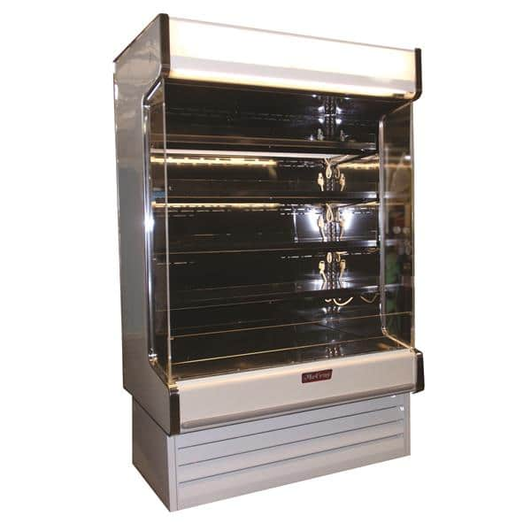Howard-McCray SC-OD35E-5-S-LED-LC 63.00'' Stainless Steel Vertical Air Curtain Open Display Merchandiser with 4 Shelves