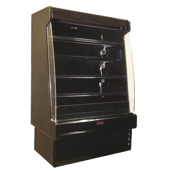 Howard-McCray SC-OD35E-5S-B-LED 63.00'' Black Vertical Air Curtain Open Display Merchandiser with 4 Shelves