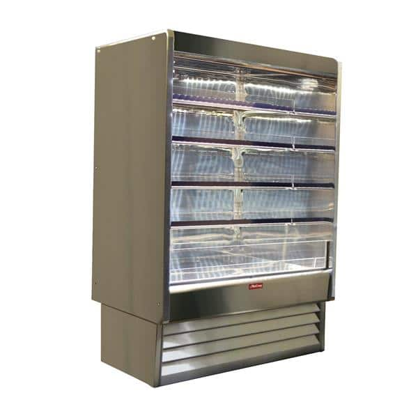 Howard-McCray SC-OD35E-6-S-LED 75.00'' Stainless Steel Vertical Air Curtain Open Display Merchandiser with 4 Shelves