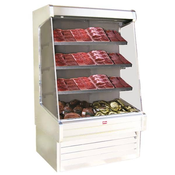 Howard-McCray SC-OM30E-4-LED 51.00'' White Vertical Air Curtain Open Display Merchandiser with 3 Shelves