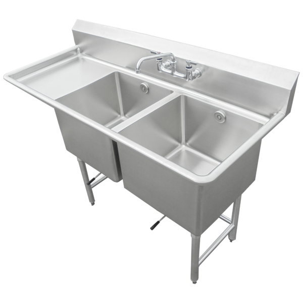 """IMC/Teddy SCS-26-1620-18L Commercial Sink, (2) Two Compartment, 16 Gauge Stainless Steel Construction with Stainless Steel Legs and With Left-hand Drainboard - 54"""" W"""
