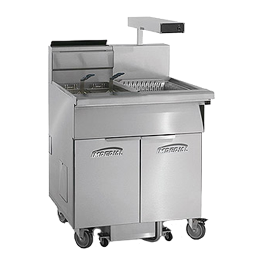 Imperial IFSCB-275-OP-T (2) 75 lb. Fryers Gas Floor Fryer with Thermostatic Controls and Built-In Filtration System, 120 Volts - 350,000 BTU