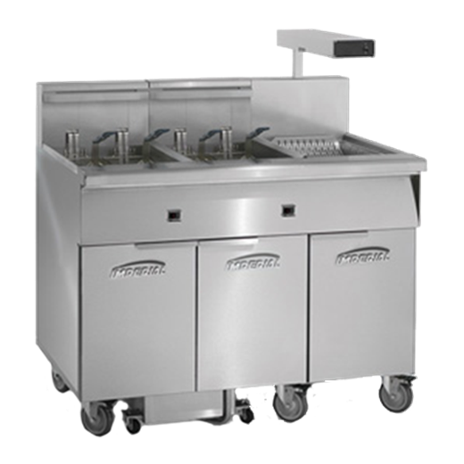 Imperial IFSCB575EC (5) 75 lb. Fryers Electric Floor Fryer with Computer Controls and Built-In Filter System, 208 Volts
