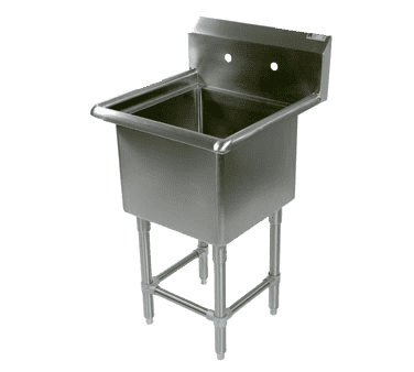 """John Boos 1PB24 Commercial Sink, (1) One Compartment, 16 Gauge Stainless Steel Construction with Stainless Steel Legs and without Drainboard - 29.13"""" W"""
