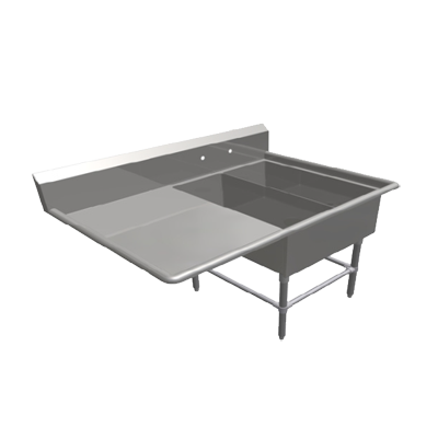"""John Boos 2PB1431-1D30L Commercial Sink, (2) Two Compartment, 16 Gauge Stainless Steel Construction with Stainless Steel Legs and With Left-hand Drainboard - 62.19"""" W"""