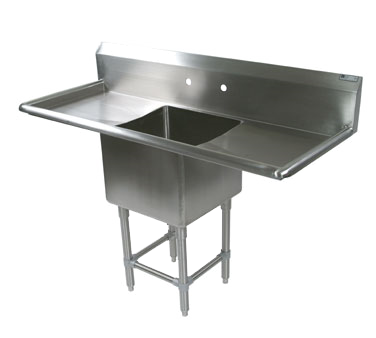 """John Boos 41PB1620-2D24 Commercial Sink, (1) One Compartment, 14 Gauge Stainless Steel Construction with Stainless Steel Legs and with 2 Drainboards - 67.25"""" W"""