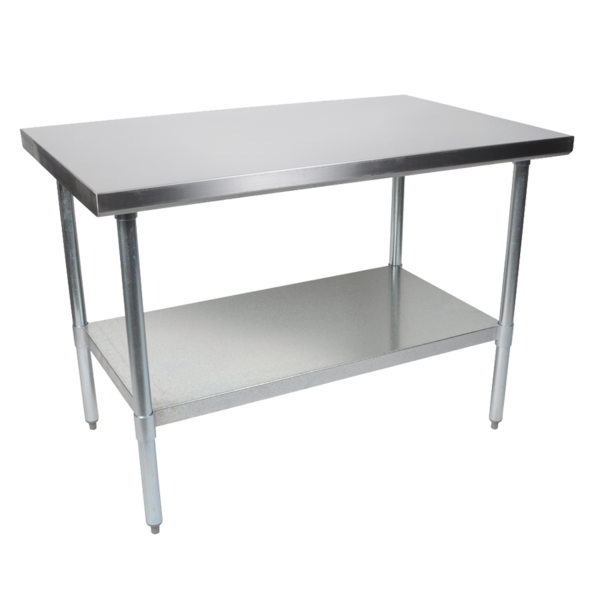 """John Boos FBLG9618-X Work Table, 18 Gauge Stainless Steel Top with Galvanized Steel Undershelf and without Backsplash - 96""""W x 18""""D"""