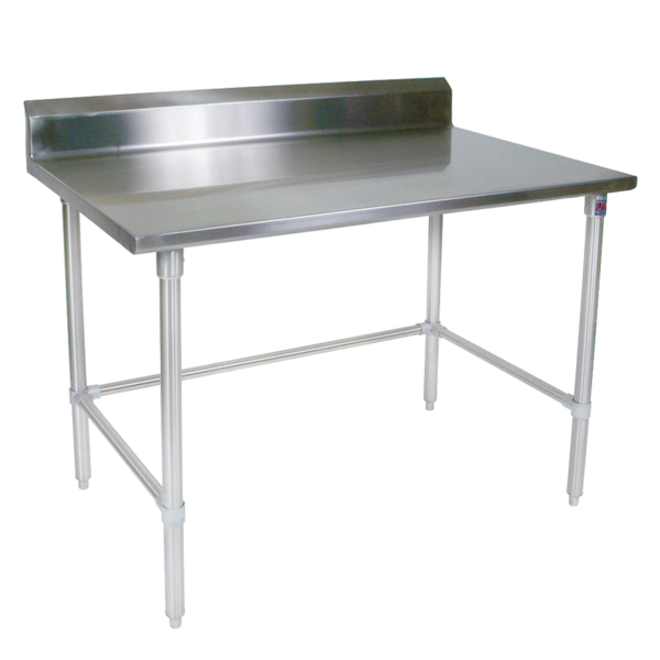 """John Boos ST4R5-3072SBK Work Table, 14 Gauge Stainless Steel Top with Open Base and 5"""" Backsplash - 72""""W x 30""""D"""