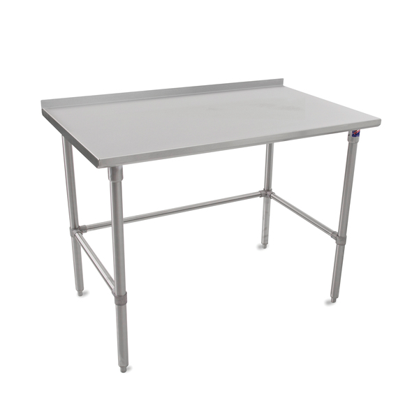 """John Boos ST6R1.5-3660SBK Work Table, 16 Gauge Stainless Steel Top with Open Base and 1 1/2"""" Backsplash - 60""""W x 36""""D"""