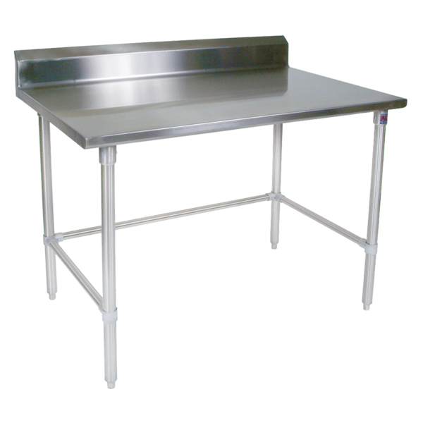 """John Boos ST6R5-3096GBK-X Work Table, 16 Gauge Stainless Steel Top with Open Base and 5"""" Backsplash - 96""""W x 30""""D"""