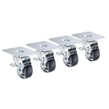 "Krowne Metal Metal 28-170S 4"" x 5"" Plate caster with 3"" wheel (set of 4)"