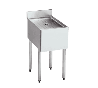 "Krowne Metal 18-GS12 Standard 1800 Series Underbar Drainboard, Freestanding with Stainless Steel Construction 4""H Backsplash - 12""W x 18.5""D"