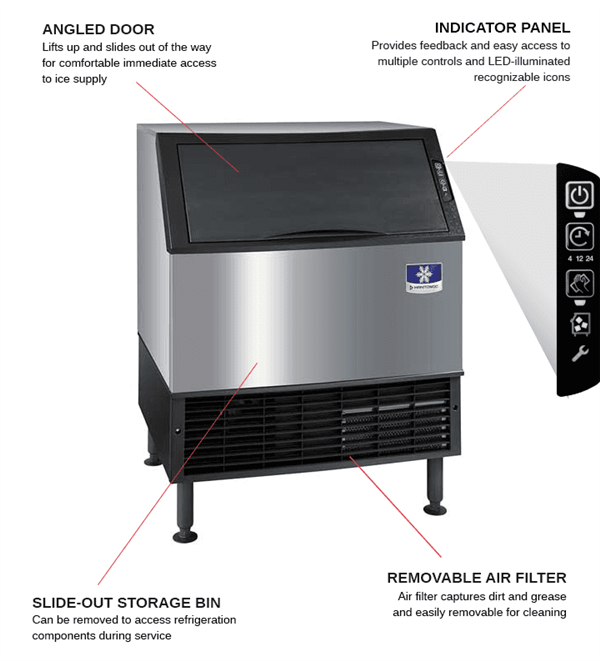 """Manitowoc Manitowoc UYF0310W 30"""" Half-Dice Ice Maker With Bin, Cube-Style - 200-300 lbs/24 Hr Ice Production, Water-Cooled, 115 Volts"""