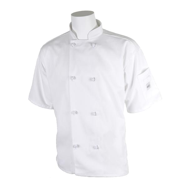 Mercer Culinary M60014WH5X Millennia® Unisex Jacket  short sleeve