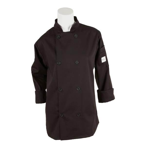 Mercer Culinary M60020BKXXS Millennia® Women's Chef Jacket  (8) traditional buttons