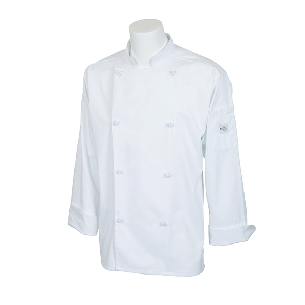 Mercer Culinary M61020WH1X Genesis Unisex Chef Jacket  (8) cloth knot buttons