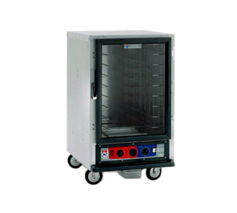 Metro C515-PFC-UA C5™ 1 Series Half Height Clear Door Aluminum Uninsulated Mobile Proofing and Holding Cabinet, 120 Volts