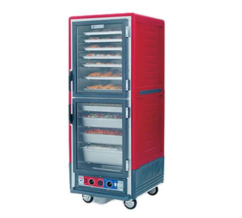 Metro C539-HLDC-4A C5™ 3 Series with Red Insulation Armour™ Full Height Clear Door Mobile Heated Holding Cabinet, 120 Volts