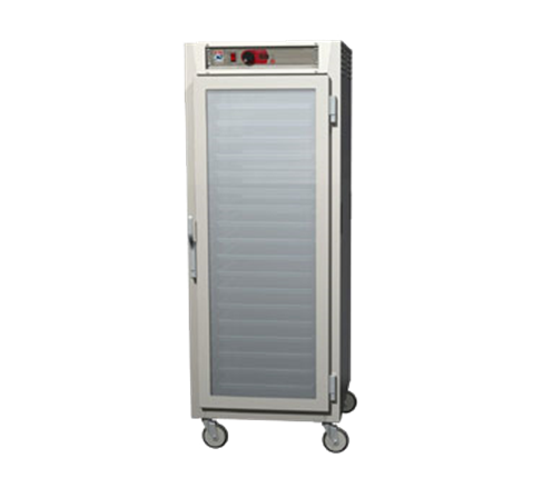 Metro C589L-SFC-LPFS C5™ 8 Series Clear Door Stainless Steel Mobile Pass-Thru Heated Holding Cabinet, 120 Volts