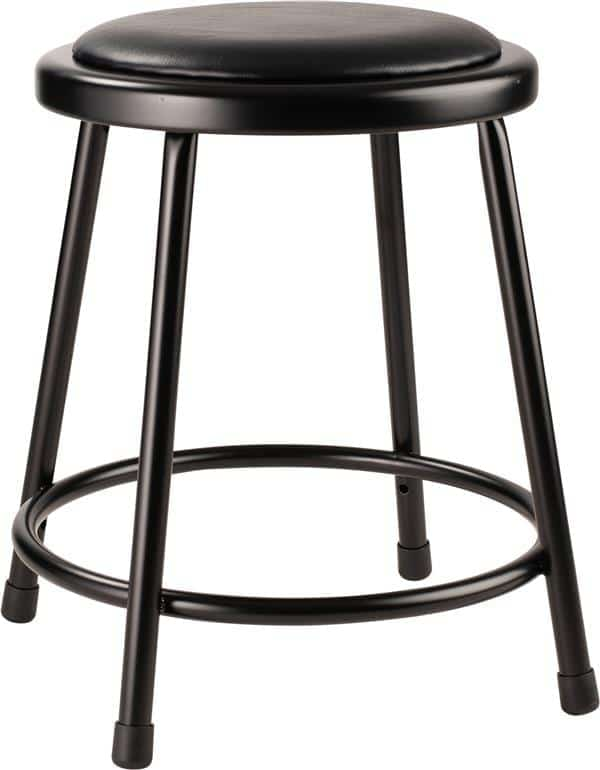 """National Public Seating 6418-10 18"""" Black Stool with Padded Seat"""