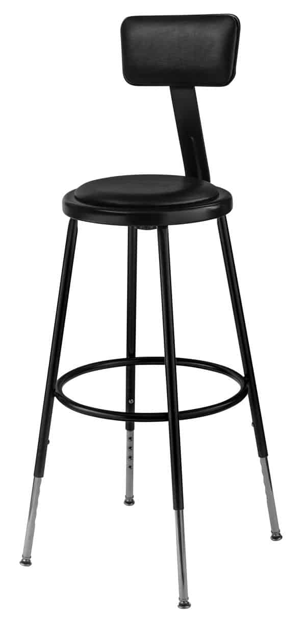 """National Public Seating 6424HB-10 25-33"""" Black Adj. Stool with Padded Seat and Backrest"""