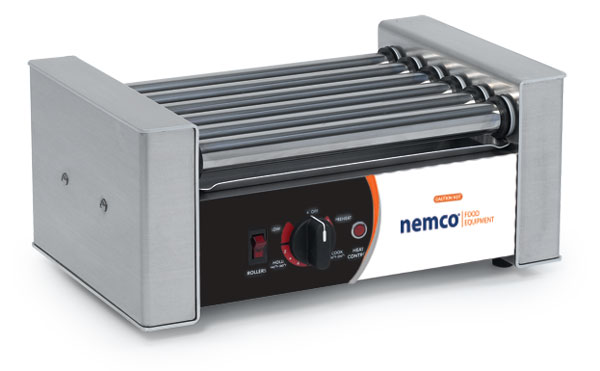 NEMCO 8045W-220 Roll-A-Grill® 35.50'' Countertop Hot Dog Roller Grill with Individual Controls, 220 Volts