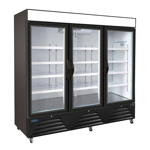 Nor-Lake Nor-Lake NLRGM72HB 81'' Black 3 Section Swing Refrigerated Glass Door Merchandiser