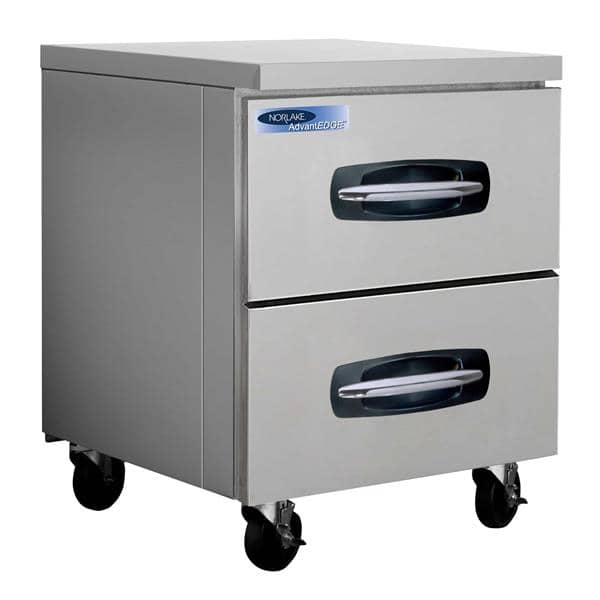 Nor-Lake NLUR27A-001B 27.5'' 1 Section Undercounter Refrigerator with 2 Drawers and Side / Rear Breathing Compressor