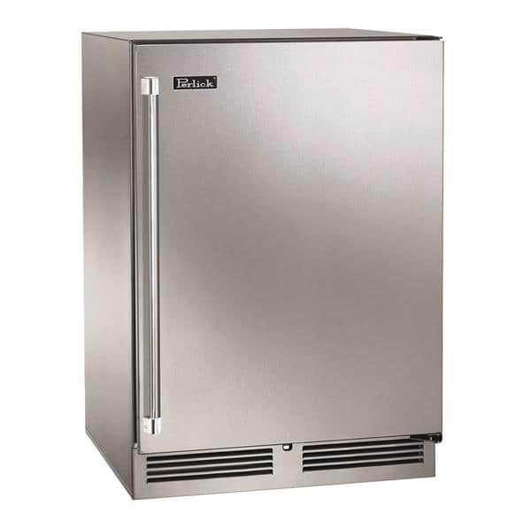 Perlick Corporation HC24RS 23.88'' 1 Section Undercounter Refrigerator with 1 Right Hinged Solid Door and Side / Rear Breathing Compressor
