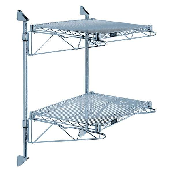 Quantum Food Service WC34-CB1436GY Cantilever Double Shelf Post Wall Mount