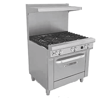 """Southbend 436A-3C Restaurant Gas Range, with (1) 36"""" Charbroiler and Convection oven - 128,000 BTU"""