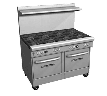 """Southbend 4481EE-5L Restaurant Gas Range, 48"""" W with 8 (2) Space Saver Ovens and Manual Controls, - 335,000 BTU"""
