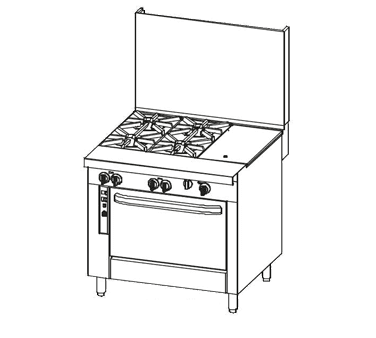 """Southbend P36C-BTT Commercial Range, 36"""" W with 2 Burners (1) 24"""" Griddle and Cabinet Base - 134,000 BTU"""