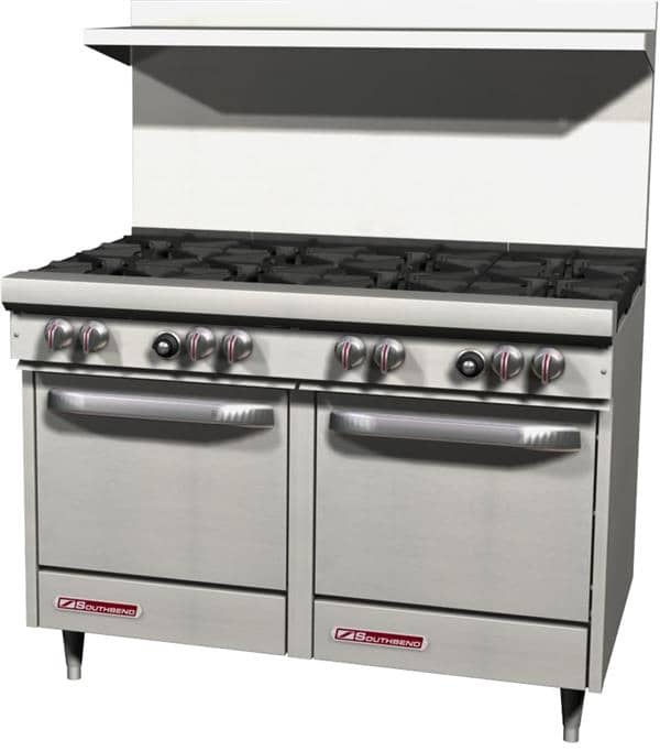"""Southbend S48EE Restaurant Gas Range, 48"""" W with 8 (2) Space Saver Ovens and Manual Controls, - 294,000 BTU"""