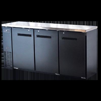 Spartan Refrigeration SBBB-72 Black 3 Solid Door Refrigerated Back Bar Storage Cabinet, 115 Volts