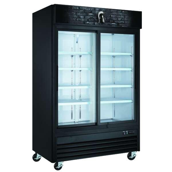 Spartan Refrigeration SGM-53R 53'' Black 2 Section Sliding Refrigerated Glass Door Merchandiser