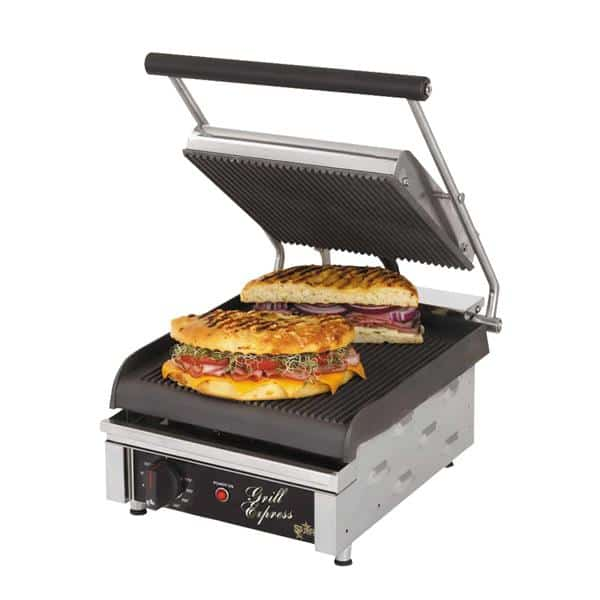 """Star GX10IG Sandwich / Panini Grill, Single, with 10""""W x 10""""D Grooved Cast Iron Cooking Surface - 120 Volts"""