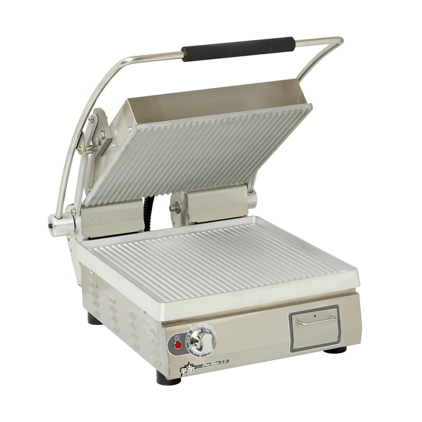 """Star PGT14 Sandwich / Panini Grill, Single, with 14.5"""" W x 14.2""""D Grooved Aluminum Cooking Surface - 120 Volts"""