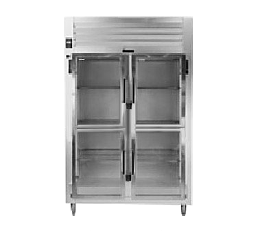 Traulsen RHT226WP-HHG 58'' 43.5 cu. ft. 2 Section Glass Half Door Stainless Steel Pass-Thru Refrigerator