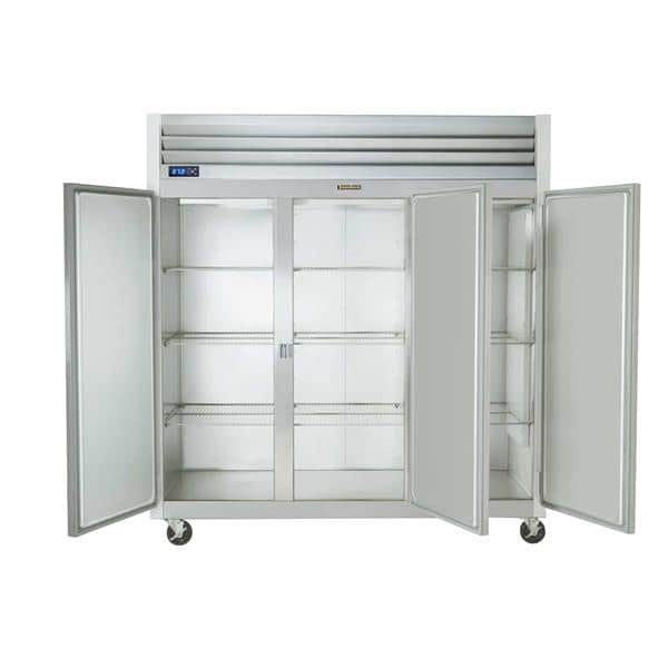Traulsen G31313 76.31'' 69.1 cu. ft. Top Mounted 3 Section Solid Door Stainless Steel and Aluminum Reach-In Freezer