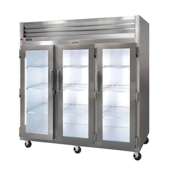 Traulsen G32001 76.31'' 69.1 cu. ft. Top Mounted 3 Section Glass Door Reach-In Refrigerator