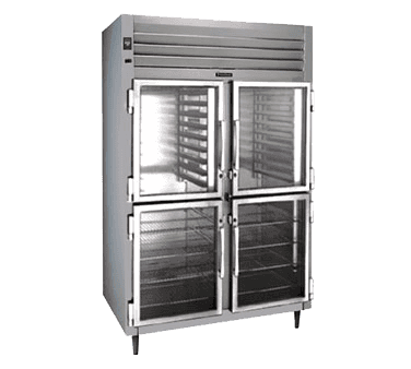 Traulsen RHT232W-HHG 58'' 51.6 cu. ft. Top Mounted 2 Section Glass Half Door All Stainless Steel Reach-In Refrigerator
