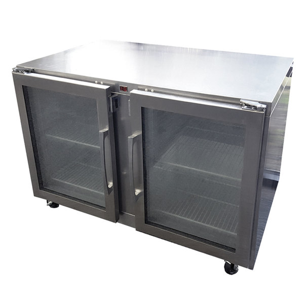 Traulsen UHG48LL-0420 48'' 2 Section Undercounter Refrigerator with 2 Left Hinged Glass Doors and Side / Rear Breathing Compressor