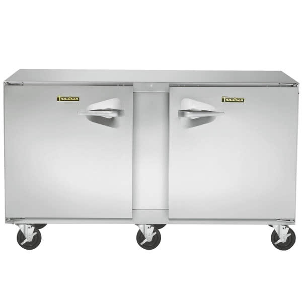 Traulsen UHT60LL-0300-SB 60'' 2 Section Undercounter Refrigerator with 2 Left Hinged Solid Doors and Side / Rear Breathing Compressor