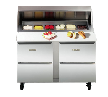 Traulsen UPT3212-D Dealer's Choice Compact Prep Table Refrigerator with roll-top lid which serves as an overshelf