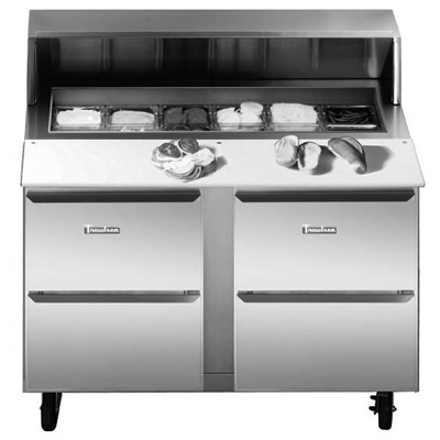 Traulsen UPT6024-DD 60'' 4 Drawer Counter Height Refrigerated Sandwich / Salad Prep Table with Standard Top