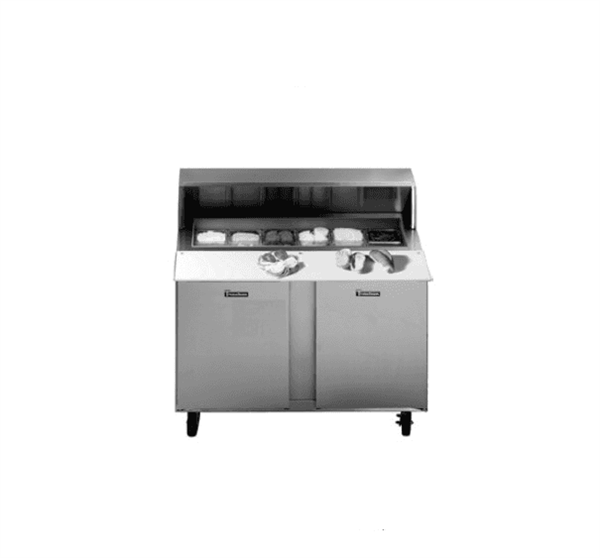 Traulsen UPT7230-RR Dealer's Choice Compact Prep Table Refrigerator with roll-top lid which serves as an overshelf
