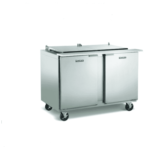 Traulsen UST7212-LL-SB 72'' 2 Door Counter Height Refrigerated Sandwich / Salad Prep Table with Standard Top