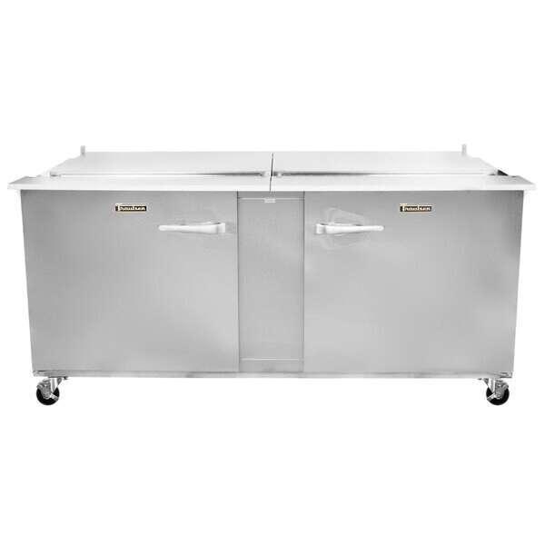 Traulsen Traulsen UST7212RR-0300 72'' 2 Door ADA Height Refrigerated Sandwich / Salad Prep Table with Standard Top